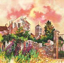 Vézelay au ciel rose