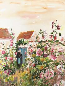 Nini aux roses trémières