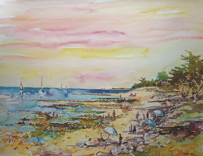 La plage ensoleillé l'après midi