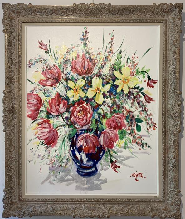 Tulipes au vase bleu
