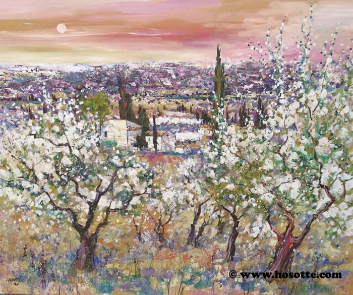 Dans un écran de cerisiers